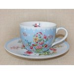 """Чашка с блюдцем  R2S  """"Цветы"""" 280мл цвет голубой"""