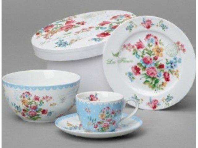 Подарочный набор посуды для завтрака 4 предмета R2S «Цветы» голубой  (Les Fleurs R0939JASB-5)