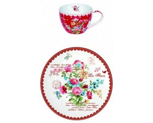 """Чашка с блюдцем  R2S  """"Цветы"""" 280 мл цвет красный"""