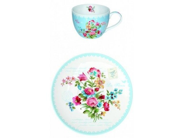 """Чайный набор R2S """"Цветы"""" голубой Les Fleurs на 6 персон"""
