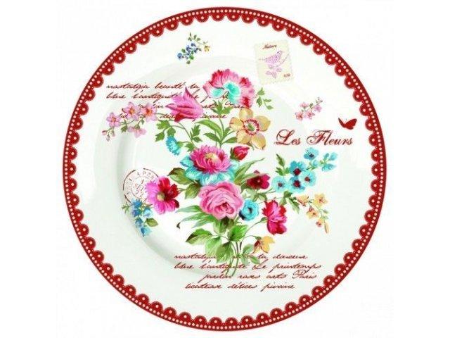 "Тарелка R2S ""Цветы"" 26,5 см цвет красный (Les Fleurs R0942JASR)"