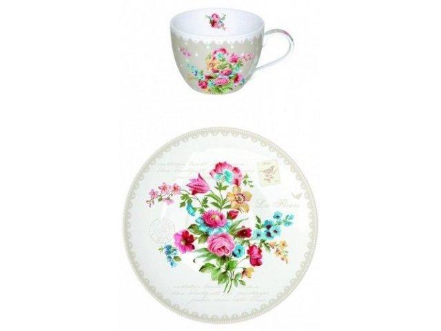 """Чайный набор R2S  """"Цветы"""" на 6 персон серый Les Fleurs"""
