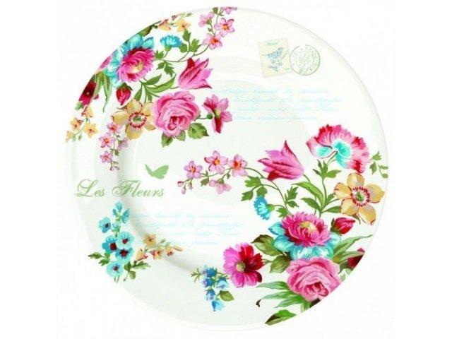 "Набор тарелок на 6 персон R2S ""Цветы"" 26,5 см цвет белый (Les Fleurs R0942JAS)"