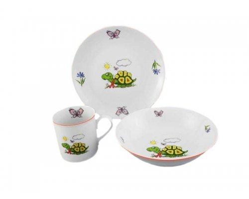Детский набор посуды Leander Черепаха 3 предмета с кружкой 0,20л фарфоровый