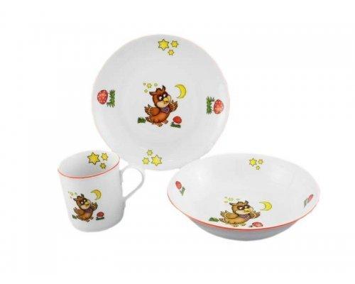 Детский набор посуды Leander Сова 3 предмета с кружкой 0,20л фарфоровый