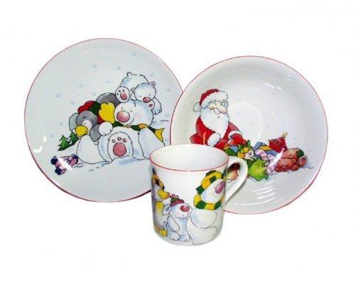 Детский набор посуды Leander Новогодний 3 предмета с кружкой 0,20л фарфоровый