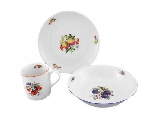 Детский набор посуды Leander Фрукты 3 предмета с кружкой 0,20л фарфоровый