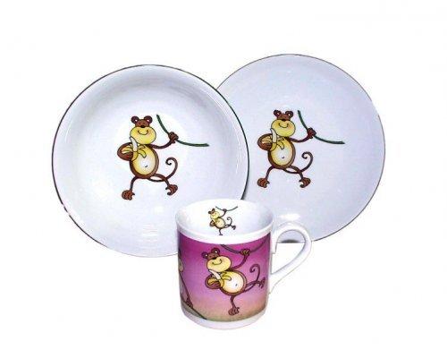 Детский набор посуды Leander Обезьяна 3 предмета с кружкой 0,20л фарфоровый
