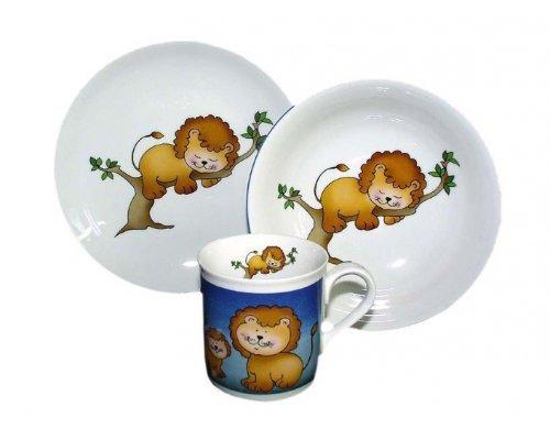 Детский набор посуды Leander Лев 3 предмета с кружкой 0,20л фарфоровый