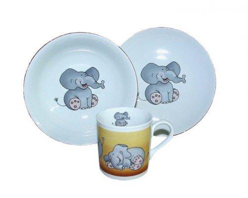 Детский набор посуды Leander Слон 3 предмета с кружкой 0,20л фарфоровый