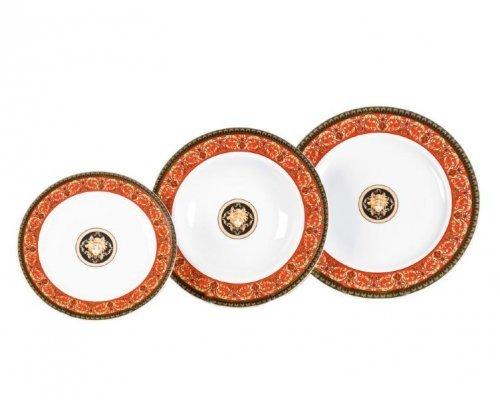 """Набор тарелок Leander Сабина """"Версаче красная линия"""" на 6 персон 18 предметов (19+23+25см)"""