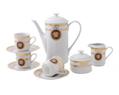 """Сервиз кофейный Leander """"Версаче A126"""" на 6 персон 15 предметов с чашками 0,15л"""
