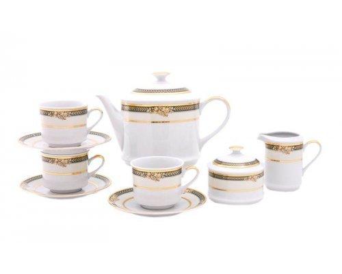 """Сервиз чайный Leander """"Сабина 0711"""" Фрукты на зеленой ленте на 12 персон 27 предметов"""