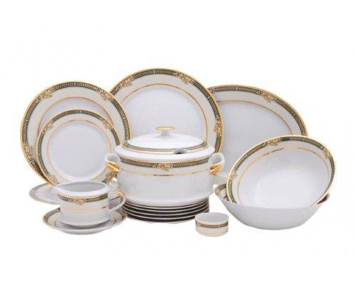"""Чайно-столовый сервиз Leander """"Сабина 0711"""" Фрукты на зеленой ленте на 6 персон 40 предметов"""