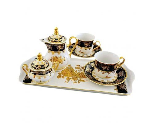 """Подарочный набор кофейный Тет-а-тет Leander """"Мэри-Энн 0431 Золотая роза кобальтовый борт"""" на 2 персоны 7 предметов"""
