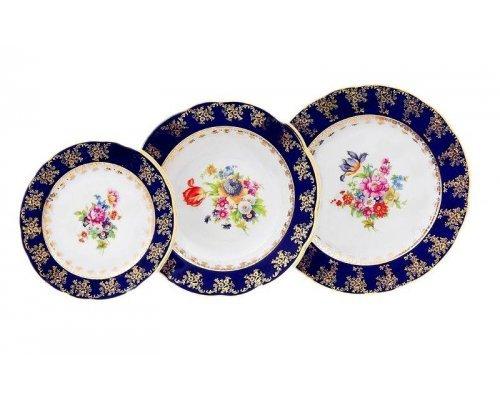 "Набор тарелок Leander ""Мэри-Энн Кобальт 0086"" на 6 персон 18 предметов (19+23+25см)"