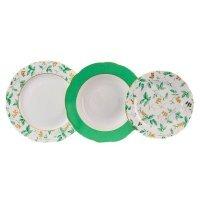 """Набор тарелок Leander Мэри-Энн """"Зеленые цветы"""" на 6 персон 18 предметов (19+23+25см)"""