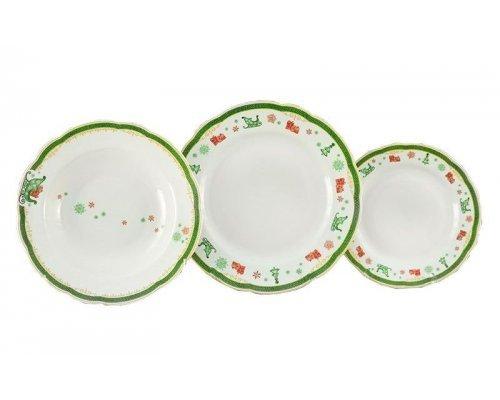 "Набор тарелок Leander ""Мэри-Энн Новогодняя 2573"" на 6 персон 18 предметов (19+23+25см)"