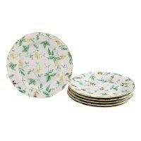 """Набор тарелок мелких Leander Мэри-Энн """"Зеленые цветы"""" 6 персон 19см"""