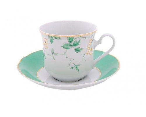 """Набор чашек высоких с блюдцами Leander Мэри-Энн """"Зеленые цветы"""" 6 персон 0,20 л"""
