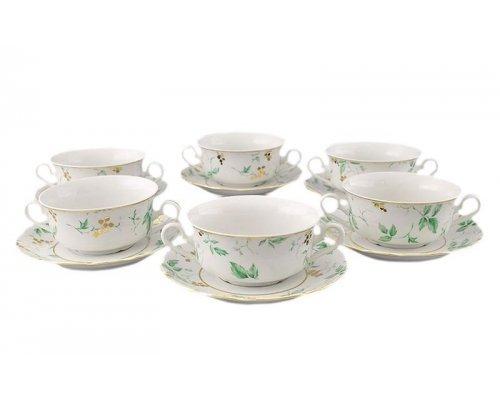 "Набор чашек для супа с блюдцами Leander Мэри-Энн ""Зеленые цветы"" 6 персон 0,35л"