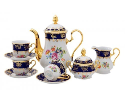 """Сервиз кофейный Leander """"Мэри-Энн Кобальт 0086"""" на 6 персон 15 предметов, чашки 0,15л"""