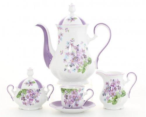 """Кофейный сервиз Leander """"Мэри-Энн 2391"""" лиловые цветы на 6 персон 15 предметов"""