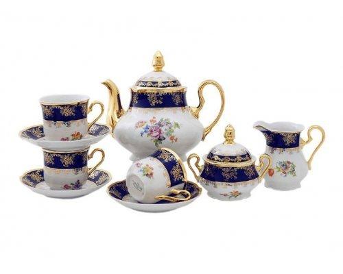"""Сервиз чайный Leander """"Мэри-Энн Кобальт 0086"""" Букет цветов на 12 персон 27 предметов"""