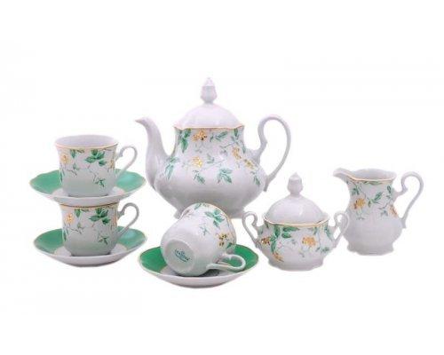 """Сервиз чайный Leander Мэри-Энн """"Зеленые цветы"""" на 12 персон 27 предметов"""