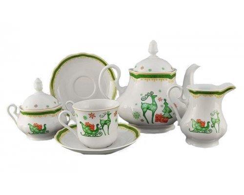 """Сервиз чайный Leander """"Мэри-Энн Новогодняя 2573"""" на 6 персон 15 предметов"""