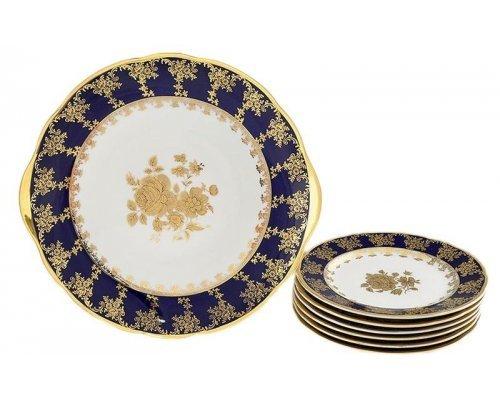 """Сервиз для торта Leander """"Мэри-Энн 0431 Золотая роза кобальтовый борт"""" на 6 персон 7 предметов, тарелки 17см"""