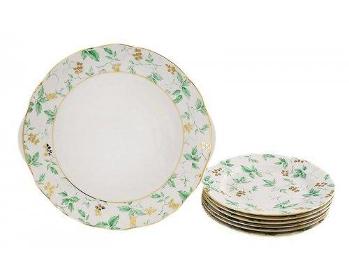 """Сервиз для торта Leander Мэри-Энн """"Зеленые цветы"""" на 6 персон 7 предметов 19см"""