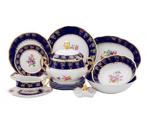 """Чайно-столовый сервиз Leander """"Мэри-Энн Кобальт 0086"""" Букет цветов на 6 персон 40 предметов"""