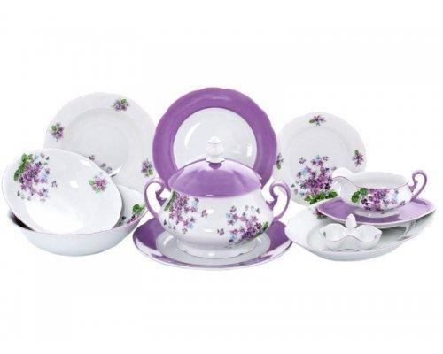 """Сервиз столовый Leander """"Мэри-Энн 2391 Лиловые цветы"""" на 6 персон 25 предметов"""