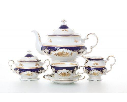 """Сервиз чайный Leander Соната """"Золотая роза Кобальт 1457"""" на 12 персон 27 предметов"""