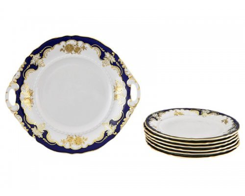 """Сервиз для торта Leander Соната """"Кобальт 1457"""" на 6 персон 7 предметов, тарелки 19см"""