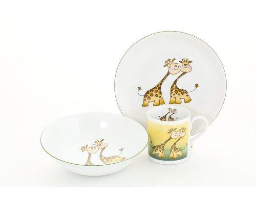 Детский набор посуды Leander Жирафы 3 предмета с кружкой 0,20л фарфоровый