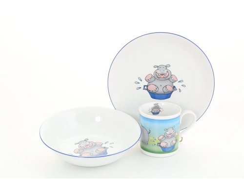 Детский набор посуды Leander Бегемот 3 предмета с кружкой 0,20л фарфоровый