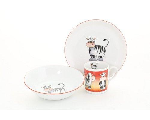 Детский набор посуды Leander Зебра 3 предмета с кружкой 0,20л фарфоровый