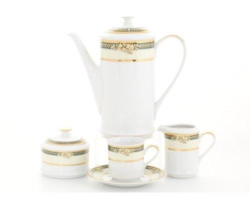 """Сервиз кофейный Leander """"Сабина 0711"""" Фрукты на зеленой ленте на 6 персон 15 предметов, чашки 0,15л"""