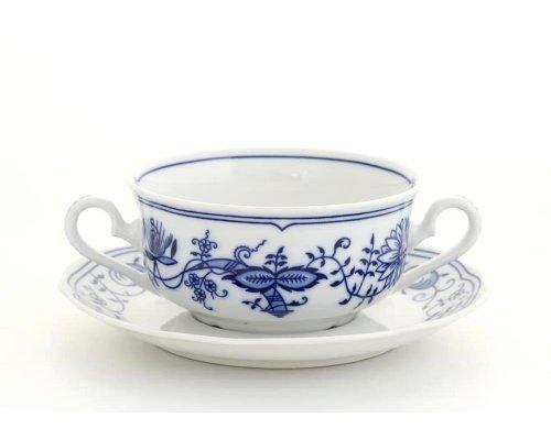"""Чашка для супа с блюдцем Leander Мэри-Энн """"Луковый рисунок"""" 2ручки 0,35л"""