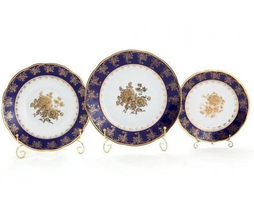 """Набор тарелок Leander """"Мэри-Энн 0431 Золотая роза кобальтовый борт"""" на 6 персон 18 предметов (19+23+25см)"""