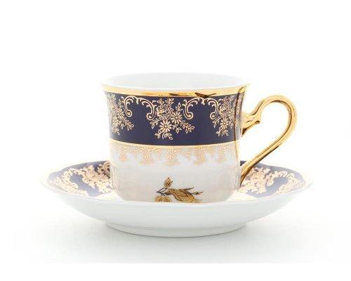"""Набор чашек высоких с блюдцами Leander """"Мэри-Энн 0431 Золотая роза кобальтовый борт"""" 6 персон 0,20 л"""