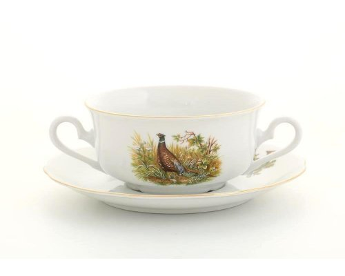 "Набор чашек для супа с блюдцами Leander Мэри-энн ""Охота"" 6 персон 0,35л"