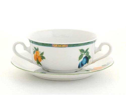 """Набор чашек для супа с блюдцами Leander Мэри-Энн """"Фруктовый сад"""" 6 персон 0,35л"""