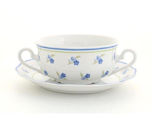 """Набор чашек для супа с блюдцами Leander Мэри-Энн """"Синие цветы"""" 6 персон 0,35л"""