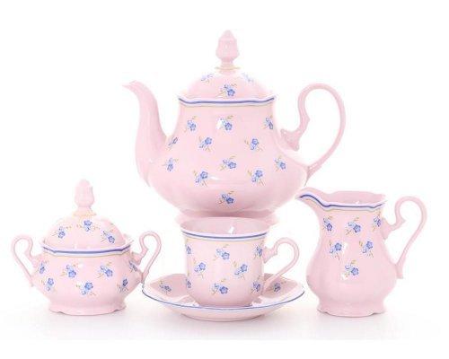 """Сервиз чайный Leander Мэри-Энн """"Синие цветы"""" розовый на 6 персон 15 предметов"""