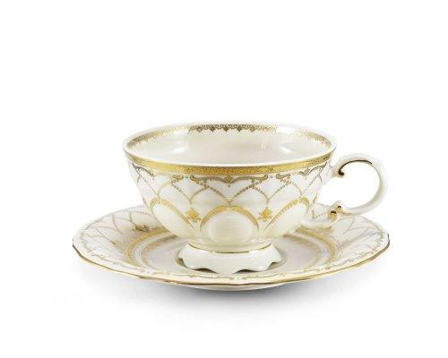 Чашка низкая с блюдцем 0,20л Соната Золотое кружево Leander