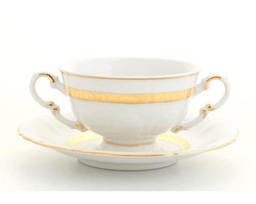 "Чашка для супа с блюдцем Leander ""Соната 1239"" Золотая лента 0,35л"