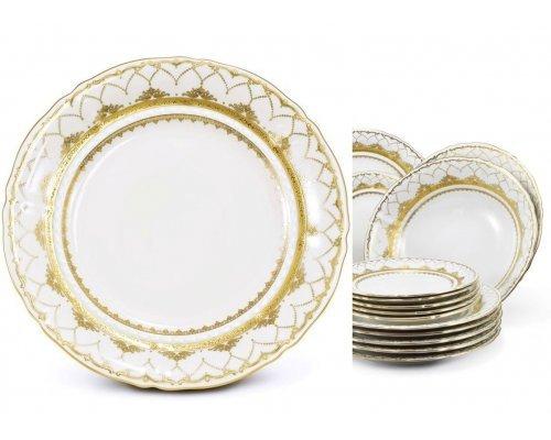 Набор тарелок на 6 персон 18 предметов Соната Золотое кружево Leander